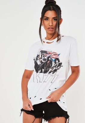 Missguided White Nibble Kiss Graphic T Shirt