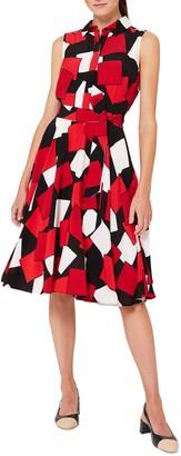 Hobbs Belinda Geo Print Sleeveless Dress