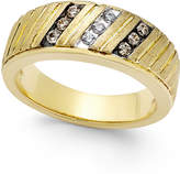 Macy's Men's Diamond Textured Band (1/4 ct. t.w.) in 10k Gold