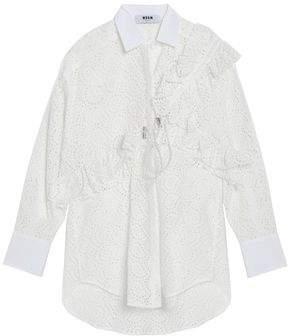 MSGM Ruffle-trimmed Broderie Anglais Cotton-poplin Shirt