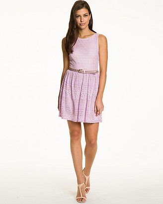 Le Château Cotton & Lace Belted Cocktail Dress