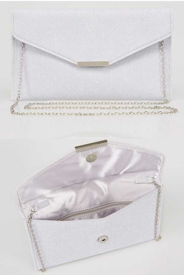 Yours Clothing Silver Glitter Clutch Bag With Cross Body Chain