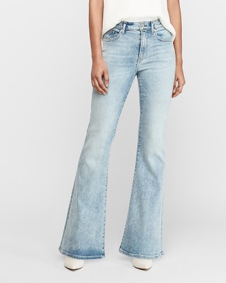 Express High Waisted Light Wash Faded Bell Flare Jeans