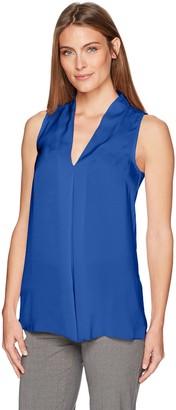 Lark & Ro Amazon Brand Women's Sleeveless Reverse Pleat Blouse