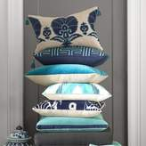 Williams-Sonoma Williams Sonoma Ottoman Floral Velvet Applique Lumbar Pillow Cover, Blue