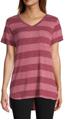 ST. JOHN'S BAY SJB ACTIVE Active-Womens V Neck Short Sleeve T-Shirt