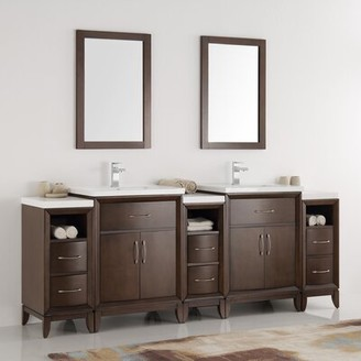 "Cambridge Silversmiths 84"" Double Traditional Bathroom Vanity Set with Mirror Fresca Base Finish: Antique Coffee"