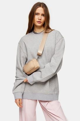 Topshop Womens Grey Relaxed Sweatshirt - Grey Marl