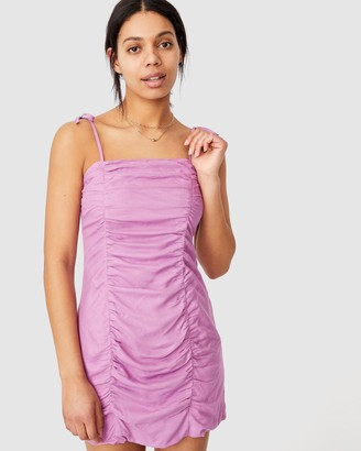 Cotton On Women's Purple Midi Dresses - Woven Holly Ruched Strappy Mini Dress - Size S at The Iconic