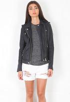 IRO Han Leather Jacket in Navy