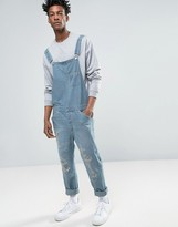 Asos Denim Overalls In Vintage Light Blue With Rips