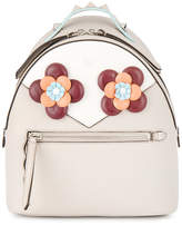 Fendi White floral eyes leather backpack