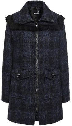 Love Moschino Fringe-trimmed Checked Brushed-tweed Coat