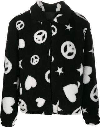 Love Moschino 'Peace & Heart' teddy jacket