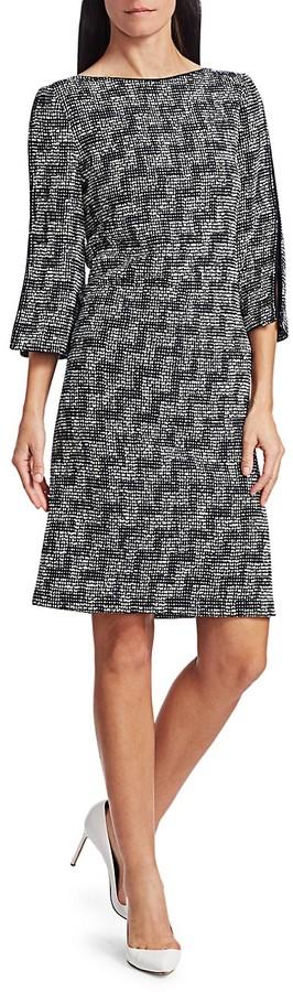 St. John Stepped Wicker Knit Sheath Dress