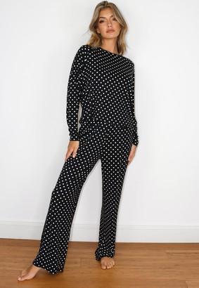 Missguided Black Polka Dot Wide Leg Pyjama Set
