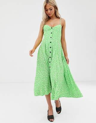 Moon River polka dot strappy midi dress-Green