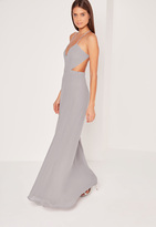 Missguided Strappy Cut Out Maxi Dress Ice Grey