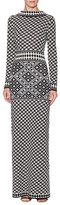 Temperley London Wool Houndstooth Fitted Long Dress
