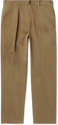 Drakes Pleated Cotton-Drill Trousers