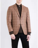 Canali Windowpane check slim-fit wool and cashmere jacket