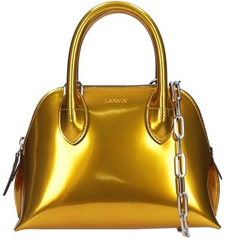 Lanvin Mini Bugatti Hand Bag In Gold Leather