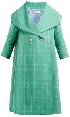 Sara Battaglia Double-breasted Windowpane-check Crepe Coat - Womens - Green White