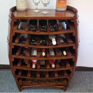 Andover Mills Baby & Kids 42 Bottle Solid Wood Floor Wine Bottle Rack in Brown