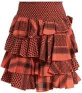 CECILIE COPENHAGEN Tiered-ruffle scarf-jacquard cotton mini skirt