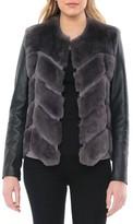 Badgley Mischka Women's Genuine Rabbit Fur & Leather Jacket