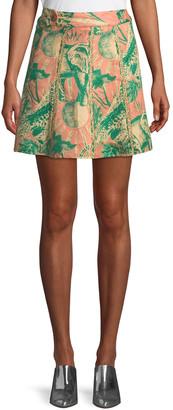CHUFY Desta Animal-Print Linen Mini Skirt