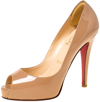 Christian Louboutin Nude Beige Patent Leather Very Prive Peep Toe Pumps Size 36