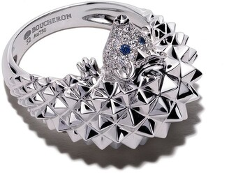Boucheron 18kt white gold Hans, the hedgehog sapphire and diamond ring