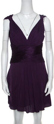 Catherine Malandrino Purple Silk Gathered Bodice Detail Sleeveless Dress M