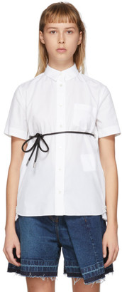 Sacai White Poplin Belted Zip Shirt