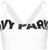 Ivy Park Printed Stretch-jersey And Mesh Sports Bra - White