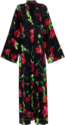 Dolce & Gabbana Lace-trimmed Floral-print Silk-blend Maxi Dress