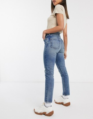 Monki Kimomo high waist mom jeans with organic cotton in LA wash