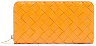 Bottega Veneta Intrecciato Leather Continental Wallet - Orange