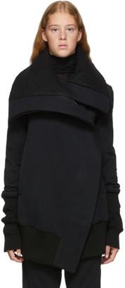 Ann Demeulemeester Black Asymmetrical Zip Jersey Coat