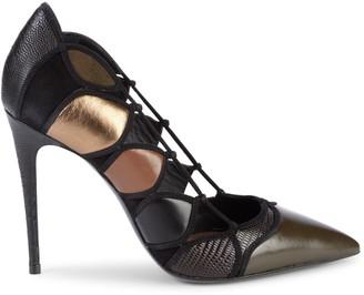 Salvatore Ferragamo Felisia Lizard Leather & Suede Cutout Stiletto Pumps