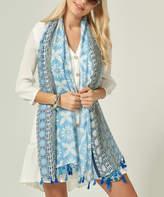 Angele Mode Women's Shawls Blue - Blue Geometric Floral Tassel-Fringe Shawl - Women