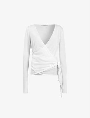 AllSaints Lonia wrap-front wool cardigan