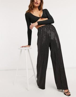 Selected wide leg pants in shimmer black