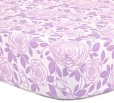 The Peanut Shell Rose Fitted Crib Sheet in Purple