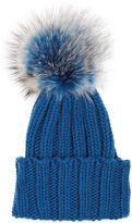 Inverni Blue Cashmere Fur Bobble Hat