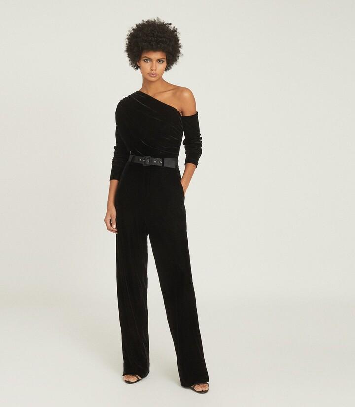 Thumbnail for your product : Reiss Elyse - Velvet Jumpsuit in Black