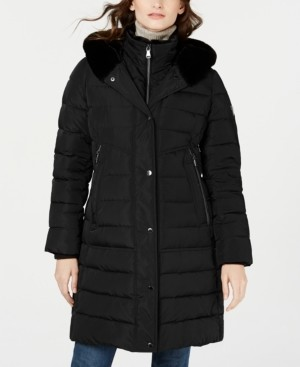 Vince Camuto Faux-Fur Trim Hooded Puffer Coat, Created for Macy's