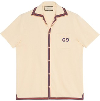 Gucci embroidered GG bowling shirt