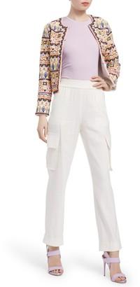 Alice + Olivia Kidman Embroidered Design Box Jacket
